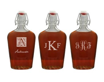 Personalized Glass Flask - Customized Glass Carafe - Monogram Glass Decanter - Monogram Gift for Him - Personalized Barware - 17oz Flask