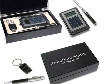 Pen, Key Chain, Letter Opener & Calculator in Personalized Box Gift Set - Laser Engraved Luxury Desk Accessory Set - Executive Desk Set