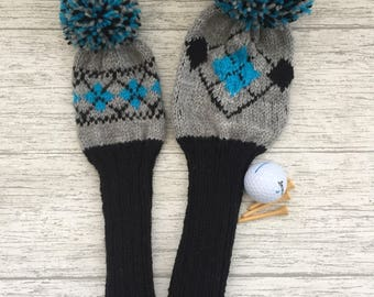 Golf club head cover set, putter cover, hand knitted covers, head covers, utility woods, driver cover