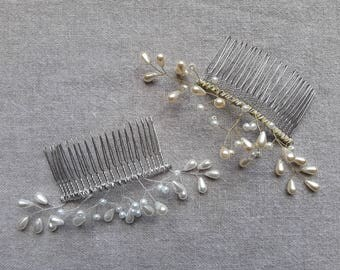 Large comb wedding comb bridal hair wedding drop Pearl bridal hair accessory ivory or white