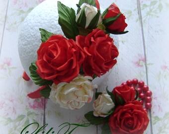Red rose Fabric Flower hair accessories Bridal. . Flower girl headband, Headband. Girls. Princess