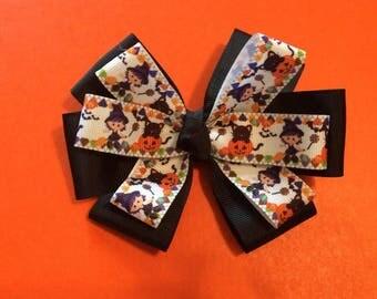 WITCH HAIR BOW, halloween hair bow, black cat hair bow, black and orange hair bow