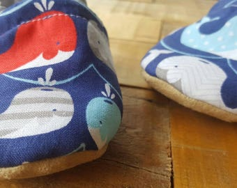 Red, blue, white, grey, whales , nautical,  Moccasins, baby crib shoes, soft sole