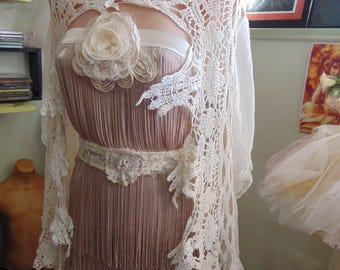 Stunning Vintage Shabby Chic Bridal French Lace Capelet Romantic 1920s Paris