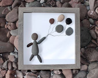 Pebble Art -- Balloon Pebble Art -- Home Decor -- Birthday Gift -- Unique Christmas Gift