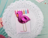 Planner clip - hot pink halographic flamingo