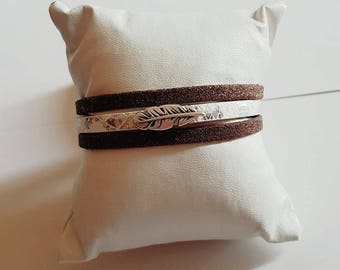 Feather Brown and White Leather Cuff Bracelet