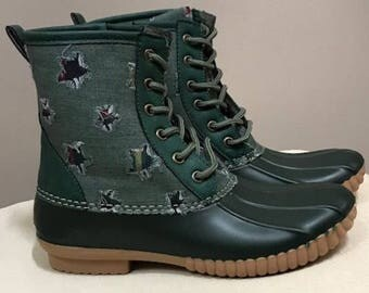 Hunter Green Duck Boots, Monogram, adult Duck Boots, Rain Boot, Boat-Shoe Style, Shoes,Two Tone,Half Size Small