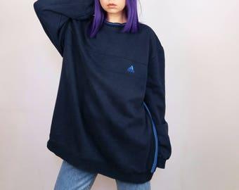 ADIDAS Vintage 90's  Oversized  Unisex Sweatshirt in Navy | Men's Size XL-XXL