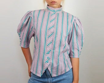 Vintage 90's Puff Sleeve Striped Button-up High Collar Striped Pink Turquoise Shirt/ Blouse | Size S-M