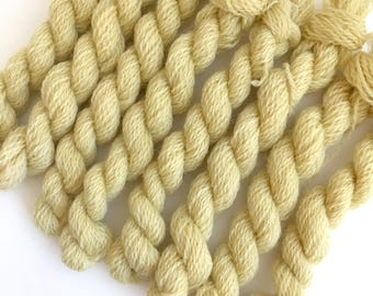 Hand dyed embroidery yarn | plant dyed | pale yellow | embroidery wool | wool | laceweight knitting | cross stitch | tapestry | weaving