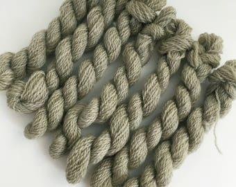 Hand dyed embroidery yarn | plant dyed | sage green | embroidery wool | wool | laceweight knitting | cross stitch | tapestry | weaving