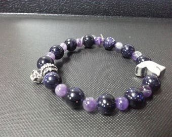 C &C Purple Madagascar Agate Charm Bracelet