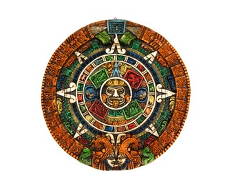"Large Colorful 17"" Aztec or Mayan Calendar Resin Wall Hanging Decor"