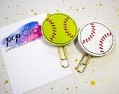Baseball Planner Clip - Softball Planner Clip - Sports Planner Clip - Planner - Felt Planner Clip - Feltie clip - Vinyl Clip - Summer Clip