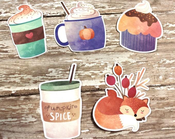 Planner Die Cuts - Die Cut Set - Fall Die Cuts - Pumpkin Spice Die Cut Set - Fox Die Cuts - Coffee Cup die cuts - PSL die cuts - pumpkin