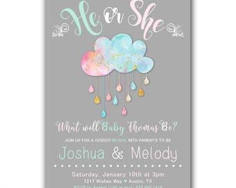 Pastel Gender Reveal Invitation, Gender Reveal Party invitation, Pink or Blue, Boy or Girl, Baby Shower, Download Printable or Printed