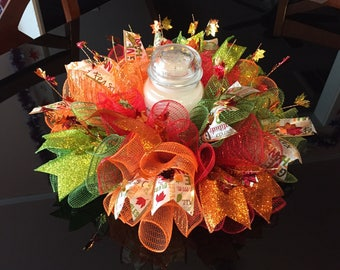 """17"""" Fall/Autumn Harvest Centerpiece/Candle Holder in Multicolor"""