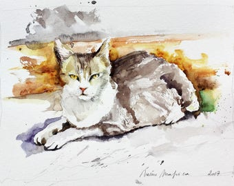 "Original watercolor painting-""Cat lying down"" free shipping (watercolor painting tabby cat feline sweetness)"