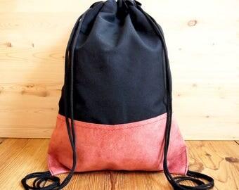 Reworked Vintage Leather Drawstring Bag Backpack