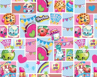 "Shopkins Patch Party fabric for Springs Creative, 43"" wide, 100% cotton, by the half yard"