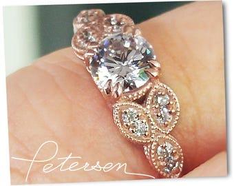 Rose Gold Engagement Ring, rose gold diamond, gift for her, ring Gold - Milgrain Gold Ring - Rose Gold Ring - Round Moissanite alternative