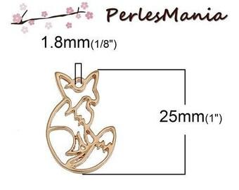 1 pendants, charm 25mm Fox ORIGAMI DORE (S1189875)