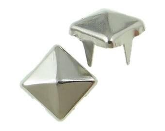 PAX 100 clous rivet 6mm pyramide carré à 4 griffes ARGENT PLATINE