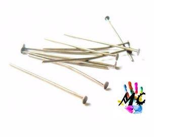 20 flat head pins, silver metal: 4 cm