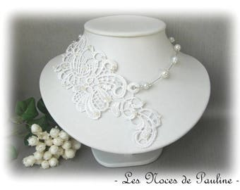 """Les Textiles"" Lucille Crystal white bridal lace necklace"