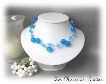 Necklace turquoise wedding melody 3 rows v2