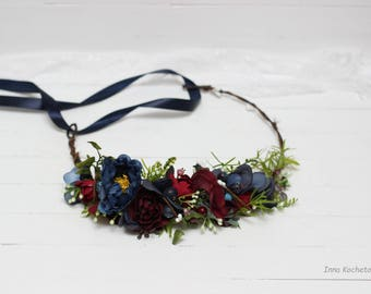 Burgundy navy blue flower crown Wedding floral crown Bridal headpiece Floral hair wreath Bridal headpiece Flower girl crown Bridesmaid crown