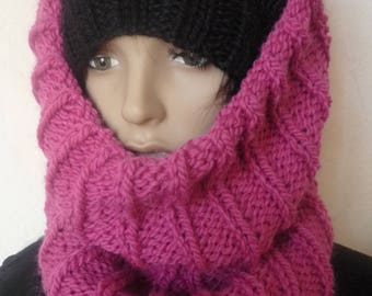 Big collar snood very thick soft hot pink