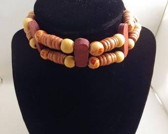 Vintage Wooden Beads Choker