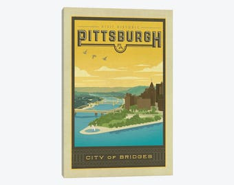 Pittsburgh Pennsylvania Point State Park Iron Steel City The 'Burgh Canvas Wall Print Poster Style Downtown Vintage Travel Pop Art Artwork
