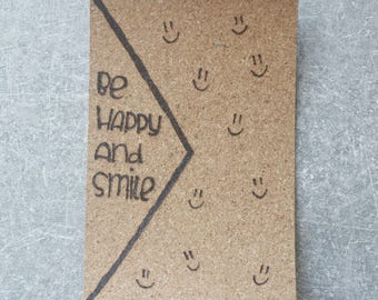 Greeting card cork 'be happy and smile'