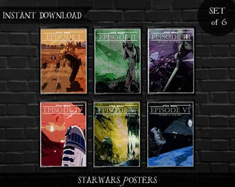 Star Wars movie posters, Set of 6 posters, Instant download, Digital prints, the empire strikes back poster, revenge of the sith  poster,