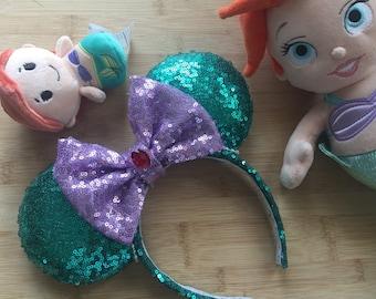 Ariel Minnie Ears, Ariel Mouse Ears, Ariel Inspired Ears, Princess Ariel Ears, Mermaid Princess Ears, Minnie Ears, Disney Ears