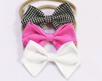 Frosted Nights trio headband bow set