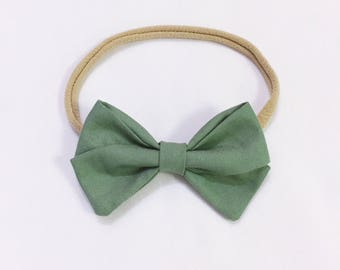 Sage green signature bow headband
