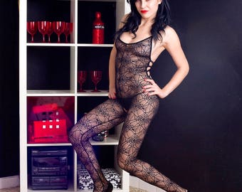 Sexy Black Spider Web Lace Crotchless Bodystocking Sexy Designer Lingerie