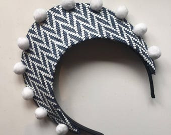 Fascinator - Navy & White Pom Pom Print Leather Halo Crown