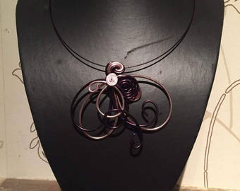 Necklace Bennett Brown pink and purple