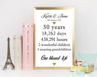 Personalised 50th Anniversary Gift Idea, GOLDEN Wedding Anniversary Print, A4 - Bespoke - White and Gold