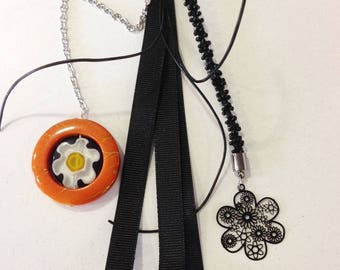 Orange and black handbag
