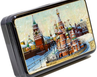 "Russian Fedoskino Lacquer Box - MEDIUM SIZE - ""Winter Moscow."" - Hand Painted in Russia - Collectible Art Quality"