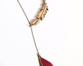 """Necklace adjustable """"Ella"""", wooden feather and natural feather"""