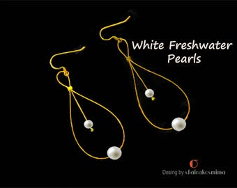 White Freshwater Pearls, White Pearl Earrings, Sterling Silver Gold Filled Earrings, Gold Pearls, Dainty Earrings, Bridesmaid Gift.