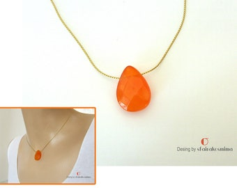 Orange Agate Drop Necklace, Gold Agate Pendant, Faceted Agate Drop Necklace, 18K Gold Filled Chain, Teardrop Necklace, Orange Drop Pendant
