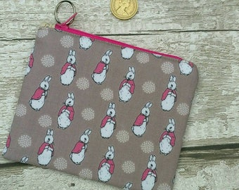 Flopsy bunny, Beatrix Potter fabric, rabbit design, Zipped Coin Purse, Cotton Fabric, Key Ring, Fully Lined, Birthday Gift Ships from UK